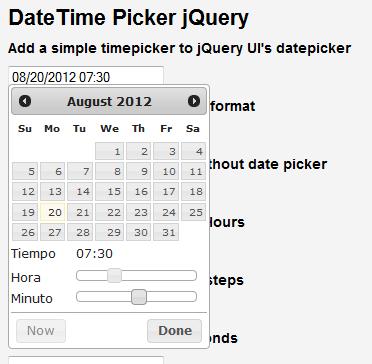 Datetime picker jQuery - Jose Aguilar Blog