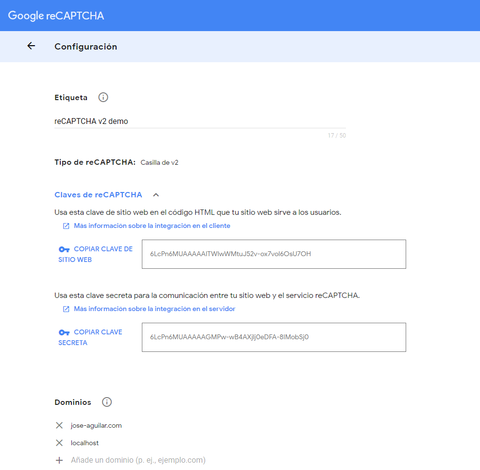 Google reCAPTCHAformulario de creación de las claves