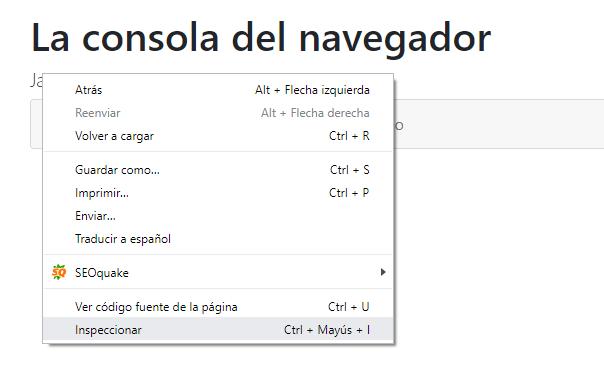 Menú acceso consola navegador
