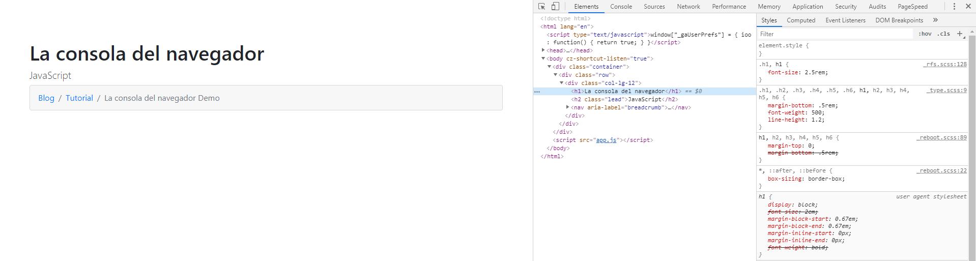 Modificar el HTML y CSS desde la consola del navegador