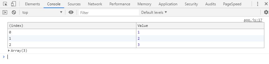 Mostrar los valores de un array en formato table en la consola del navegador
