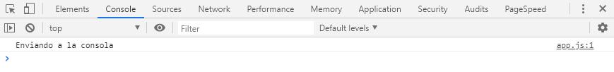 Enviando a la consola del navegador un mensaje