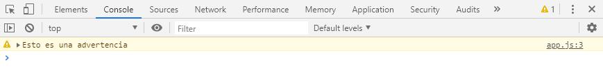 Mostrar una advertencia en la consola del navegador